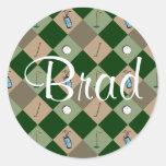 El pegatina Brad del nombre del modelo del golfist