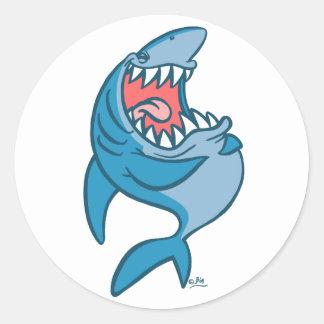 El pegatina de risa del dibujo animado del tiburón