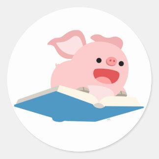 El pegatina del cerdo del libro y del dibujo