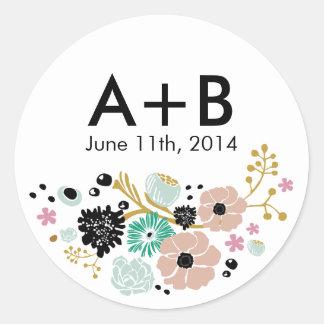 El pegatina floral del círculo del boda del ramo