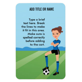 El pegatina ilustrado jugador de fútbol del chica iman rectangular