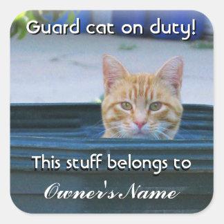 El pegatina personalizado del niño--Gato del guard