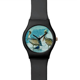 El pelícano de Brown en invierno colorea el extrac Relojes De Pulsera