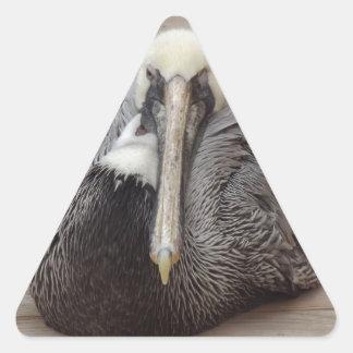 El pelícano intratable pegatina triangular