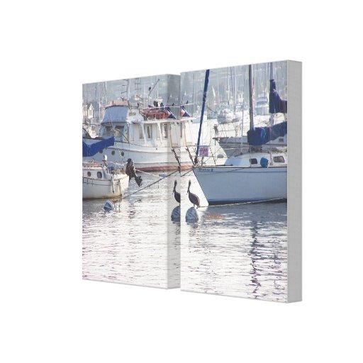 El pelícano y los veleros envolvieron la lona impresiones en lienzo estiradas