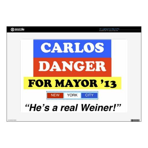 El peligro de Carlos para alcalde He de NYC es un  38,1cm Portátil Calcomanías