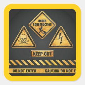 El peligro firma (7) garcya pegatina cuadrada