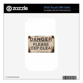 El peligro guarda la muestra clara iPod touch 4G skin