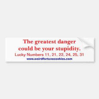 el peligro más grande (pegatina para el parachoque pegatina para auto