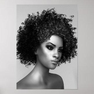 El pelo 3D del Afro rinde Póster