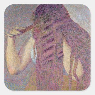 El pelo, c.1892 pegatina cuadrada