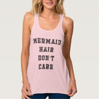 El pelo de la sirena no cuida las camisetas sin playera de tirantes cruzados holgada