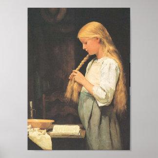 El pelo de los chicas que trenza 1887 póster