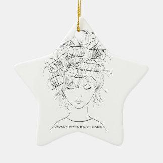 El pelo loco, no cuida adorno navideño de cerámica en forma de estrella
