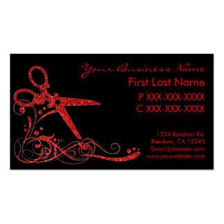 El pelo negro rojo del remolino del brillo cortó tarjetas de visita