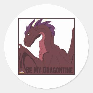 El pelo púrpura del dragón rojo fresco sea mi pegatina redonda