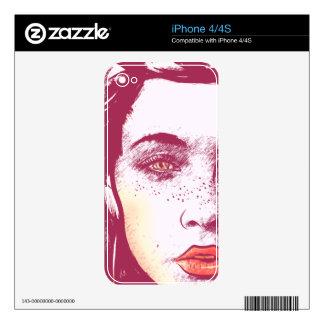 El pelo que sopla de la mujer, rojo iPhone 4 skin
