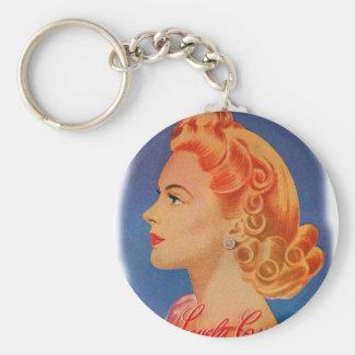 El pelo retro de las mujeres del vintage encrespa  llavero redondo tipo pin