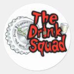 El pelotón de la bebida etiqueta redonda