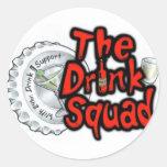 El pelotón de la bebida pegatinas redondas