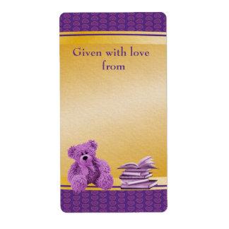 El peluche púrpura trae Bookplates de una fiesta d Etiquetas De Envío