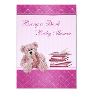 El peluche rosado lindo elegante trae una fiesta invitación 12,7 x 17,8 cm