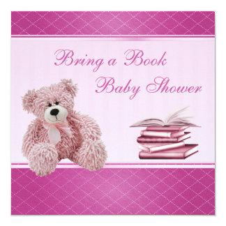 """El peluche rosado lindo elegante trae una fiesta invitación 5.25"""" x 5.25"""""""