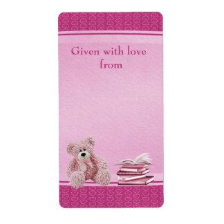 El peluche rosado trae Bookplates de una fiesta de Etiquetas De Envío