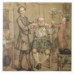 El peluquero, c.1760-69 (aceite en lona) azulejo cuadrado grande