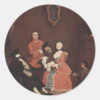 El peluquero de Pietro Longhi Etiquetas Redondas