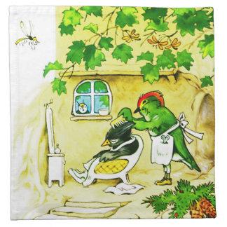 El peluquero del pájaro servilletas imprimidas