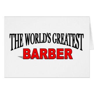El peluquero más grande del mundo tarjeta de felicitación