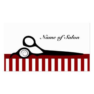 El peluquero rojo y blanco raya las tijeras del tarjetas de visita