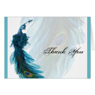 El penacho azul del pavo real del trullo le tarjetón