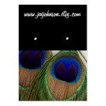 El pendiente negro de la pluma del pavo real carda tarjetas de visita
