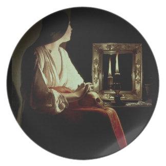 El Penitent Magdalen, c.1638-43 (aceite en lona) Plato De Comida