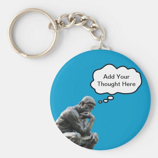 El pensador de Rodin - añada su pensamiento de Llavero Redondo Tipo Pin