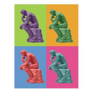 El pensador de Rodin - arte pop Postal