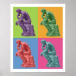 El pensador de Rodin - arte pop Póster