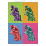 El pensador de Rodin - arte pop Tarjeta De Felicitación
