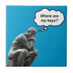 ¿El pensador de Rodin - dónde están mis llaves? Azulejo Cerámica