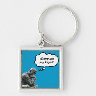 ¿El pensador de Rodin - dónde están mis llaves? Llavero Cuadrado Plateado