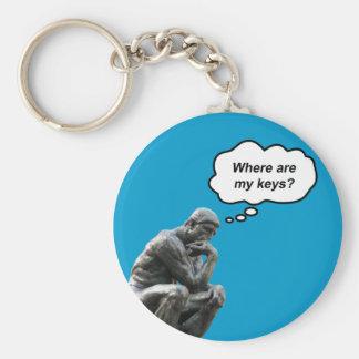 ¿El pensador de Rodin - dónde están mis llaves? Llavero Redondo Tipo Pin