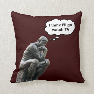 El pensador de Rodin - pienso que iré el reloj TV Cojín