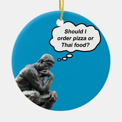 ¿El pensador de Rodin - pizza o comida tailandesa? Ornamentos Para Reyes Magos