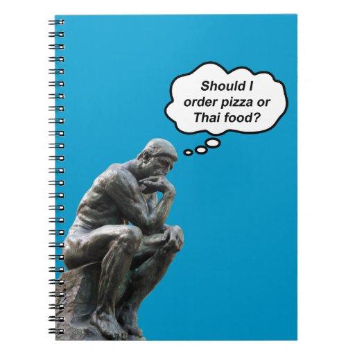 ¿El pensador de Rodin - pizza o comida tailandesa? Libro De Apuntes Con Espiral