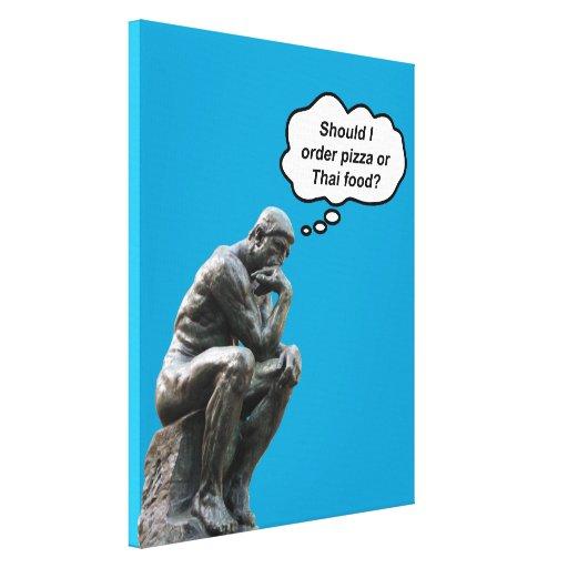 ¿El pensador de Rodin - pizza o comida tailandesa? Impresion En Lona