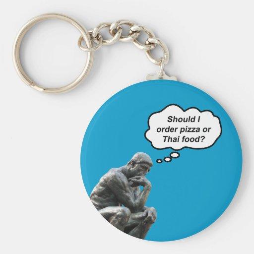 ¿El pensador de Rodin - pizza o comida tailandesa? Llaveros Personalizados