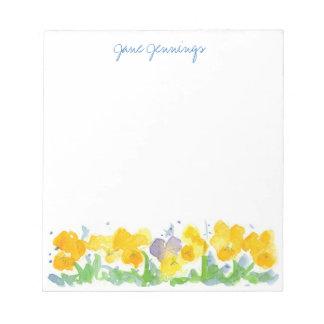 El pensamiento amarillo florece arte floral de la bloc de notas