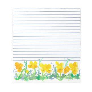 El pensamiento amarillo florece arte floral de la libreta para notas